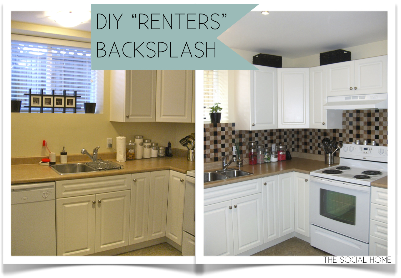 "Kitchen Backsplash Vinyl the social home: diy ""renters"" backsplash with vinyl tile"