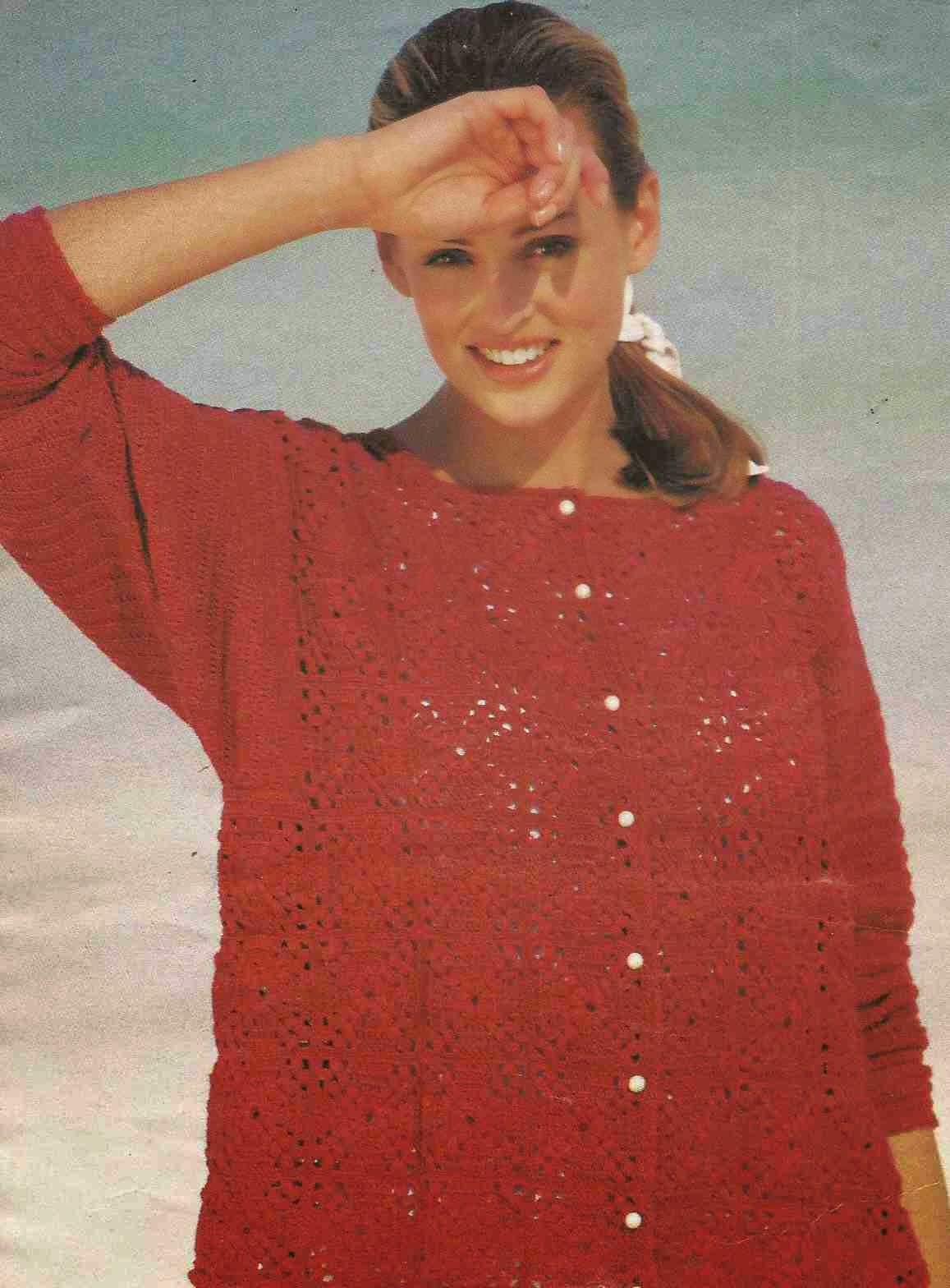 Chaqueta Roja a Crochet o Ganchillo