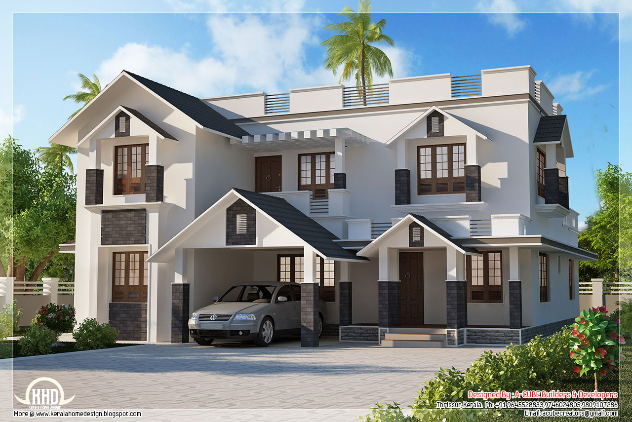 4 bedroom sloping roof house | House Design Plans