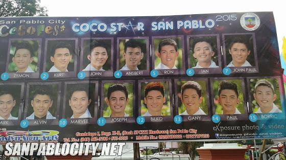 Coco Star San Pablo 2015, Contestants, Coco Festival 2015,  San Pablo City