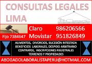 CONSULTAS LEGALES LIMA ABOGADOLABORALISTAPERU@HOTMAIL.COM