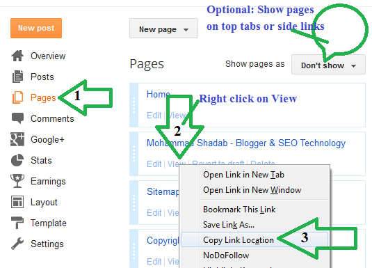 static pages display on blogger