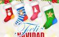 Postal navideña con muñecos de nieve y mensaje de Feliz Navidad y Próspero Año nuevo 2016