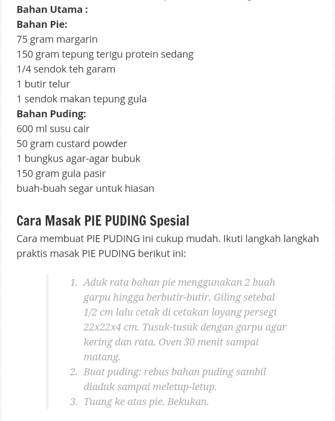 Pie puding,resepi pie puding