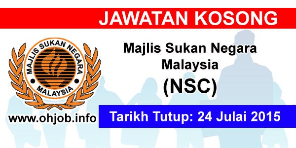 Jawatan Kerja Kosong Majlis Sukan Negara Malaysia (NSC) logo www.ohjob.info julai 2015