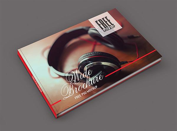 Download Gratis Mockup Majalah, Brosur, Buku, Cover - Free Brochure Mockup Wide