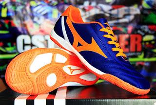 sepatu futsal mizuno biru orange