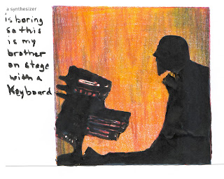 My brother playing keyboards Coloured pencil and ink by Ana Tirolese