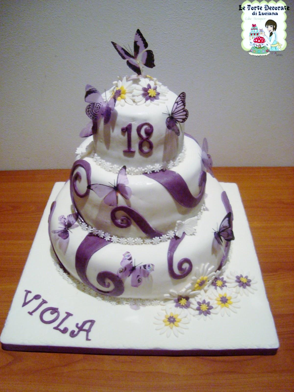 Le torte decorate torta 18 anni farfalle viola for Torte per 18 anni maschile