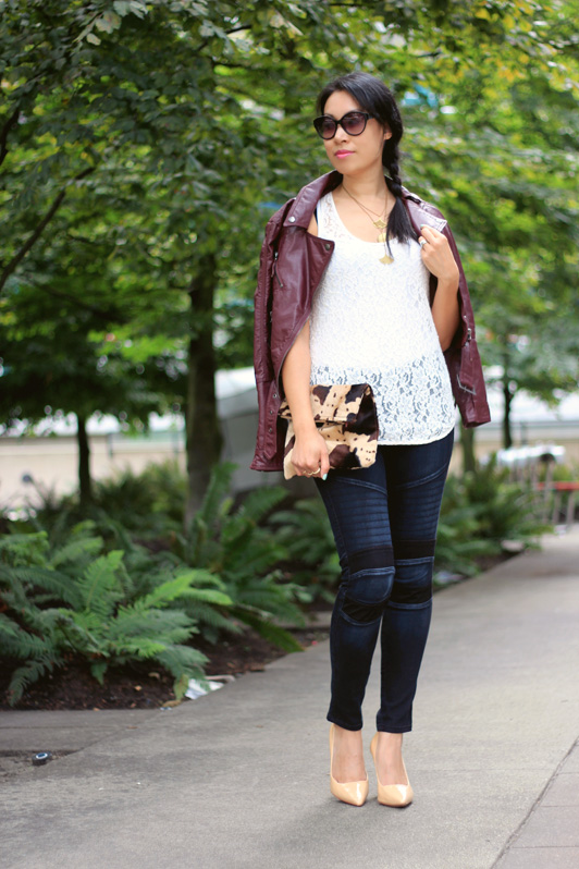 James Jeans moto combo baroque jeans, H&M oxblood faux leather jacket, Wilfred lace tank, Pour La Victoire Loelle nude patent leather pumps, Marc by Marc Jacobs cat-eye sunglasses, fashion, style, fall, Vancouver