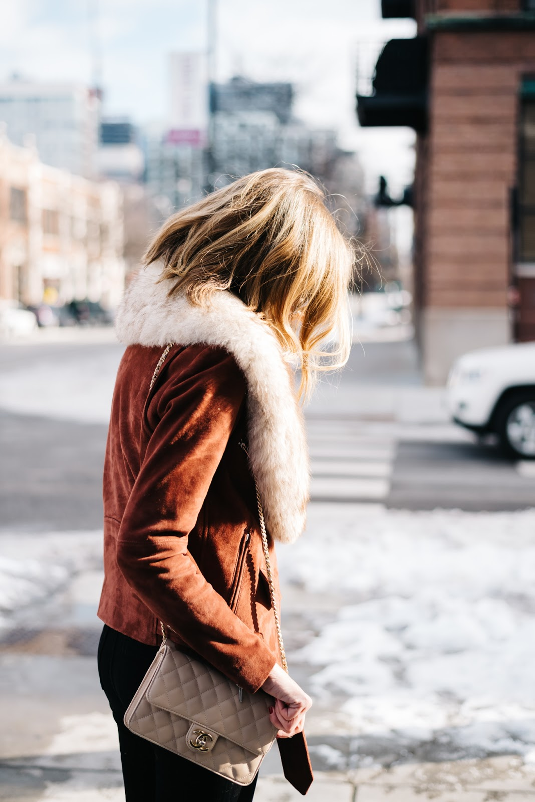 leather jacket fur collar