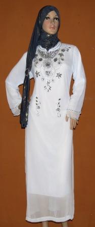 Gamis warna putih gp056 grosir baju muslim murah tanah abang Baju gamis putih murah