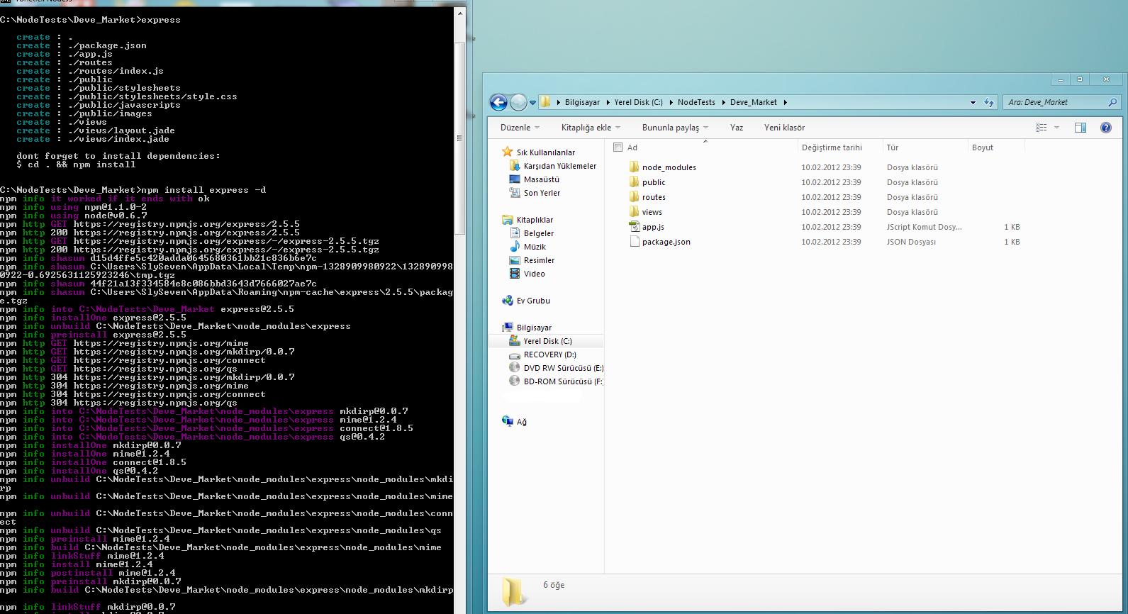 node_modules klas r nde sitemizde kullanaca m z library ler bulunuyor bu projede express ve jade library leri bulunmakta