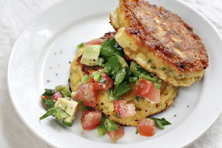 Summer Corn Cakes with Chopped Tomato