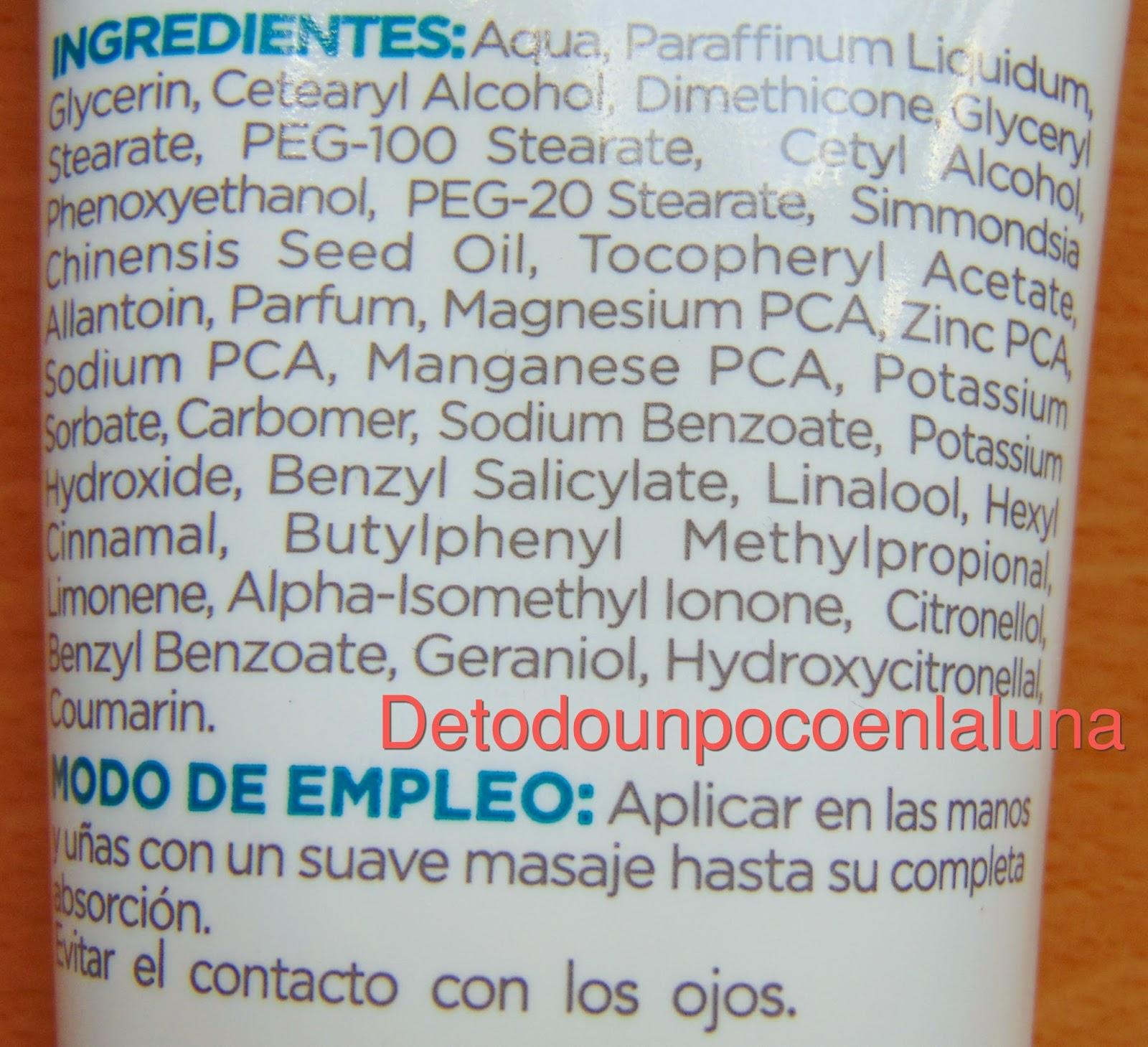 ingredientes crema de manos reparadora de belle