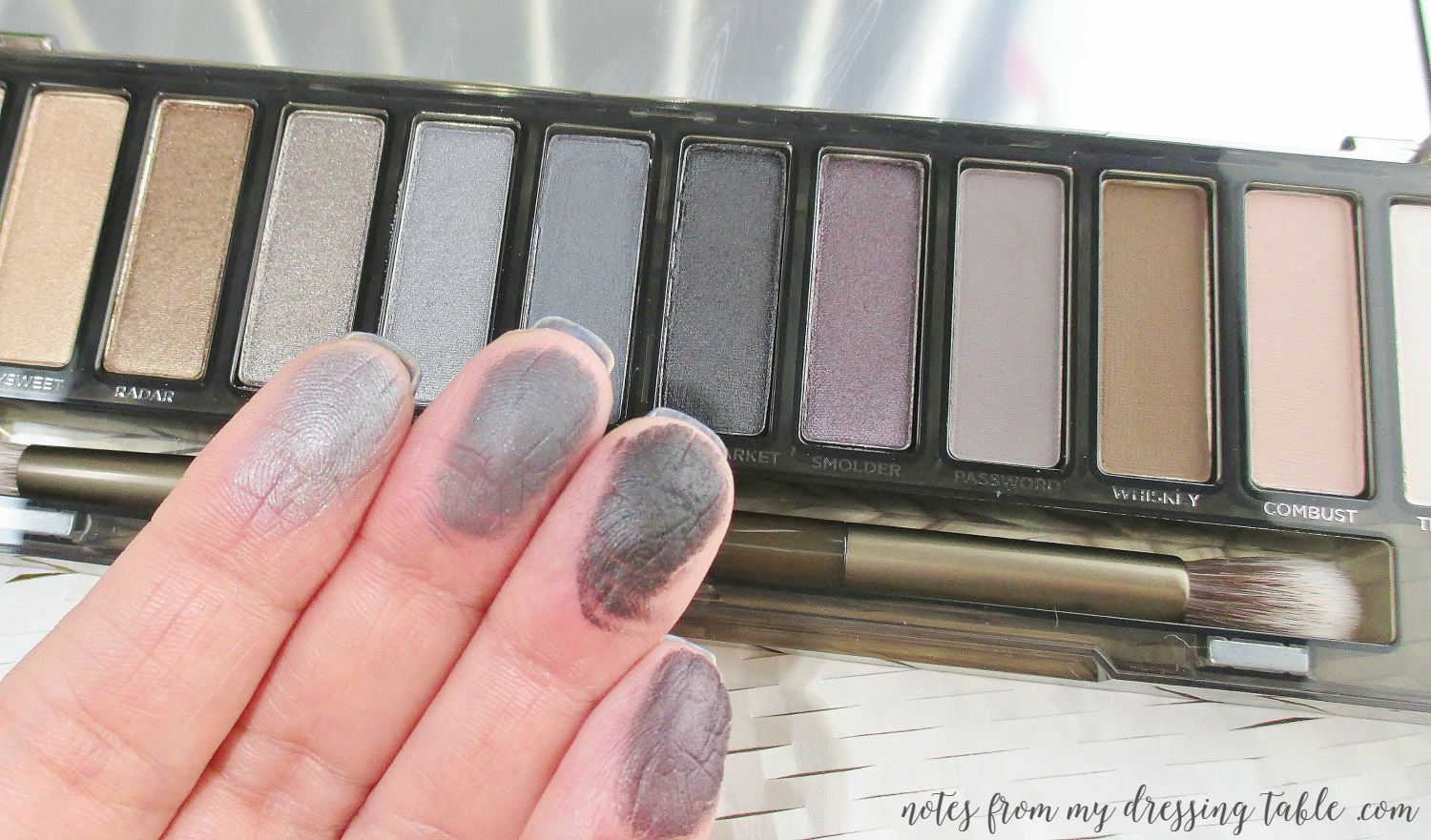 Urban Decay NAKED Smokey Palette Smokey Sades Finger Swatches notesfrommydressingtable.com