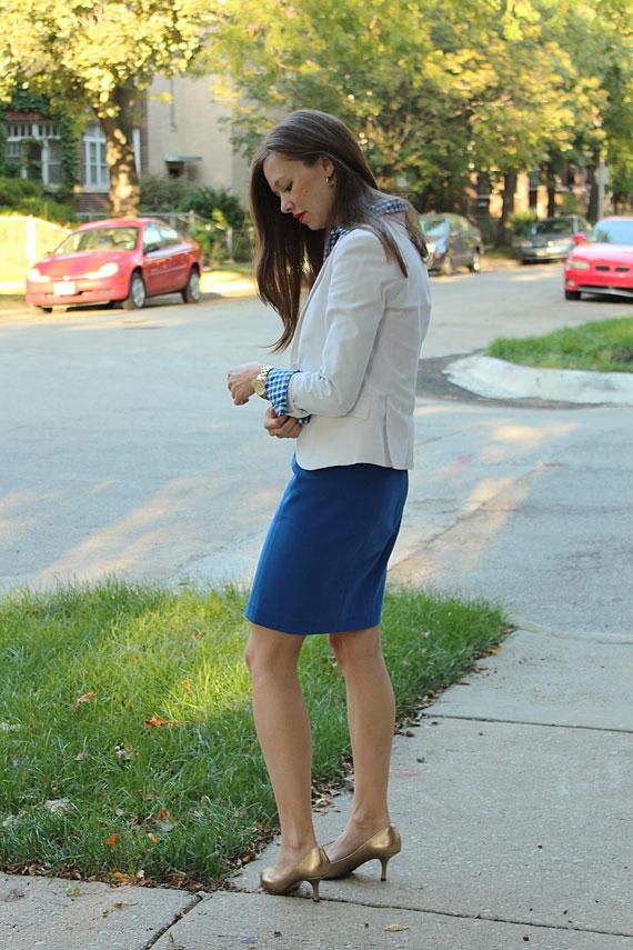 back white blazer cobalt skirt gold pumps