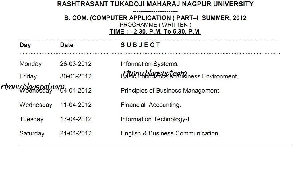 Nagpur university 39 s home bcca part 1 summer 2012 for Rtmnu time table 4th sem