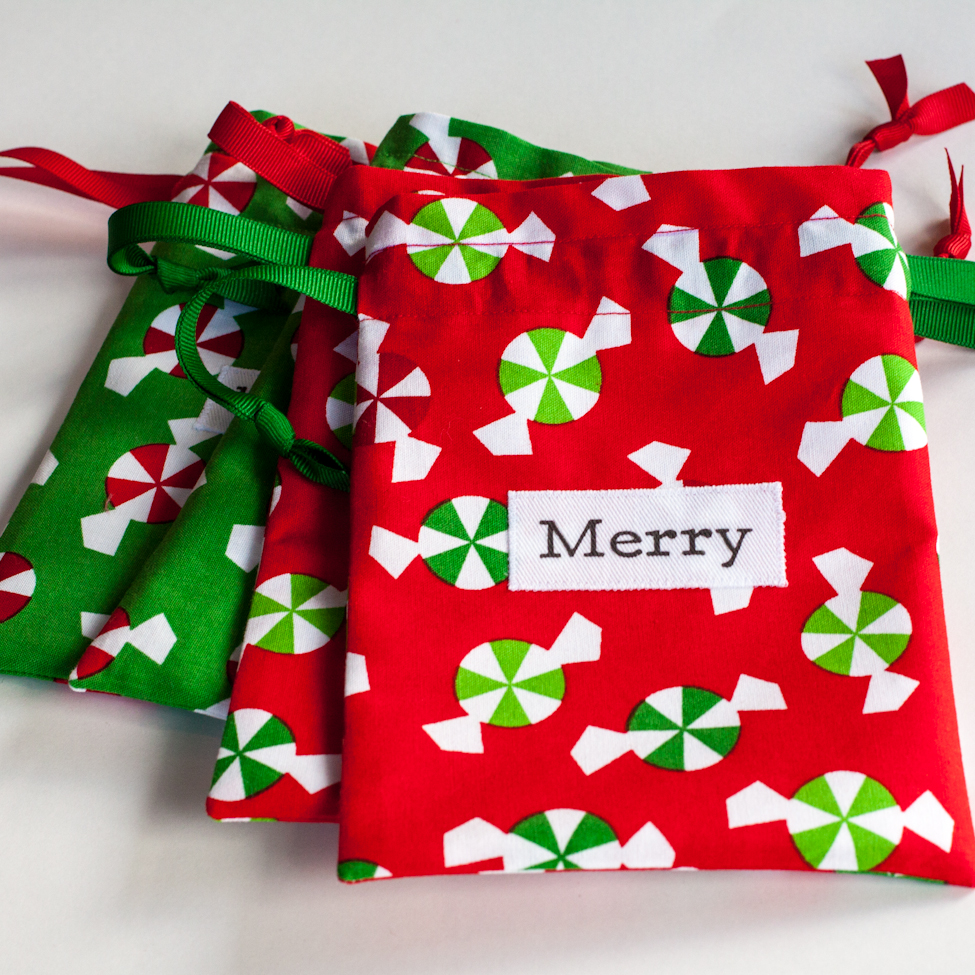 October small christmas fabric gift bags