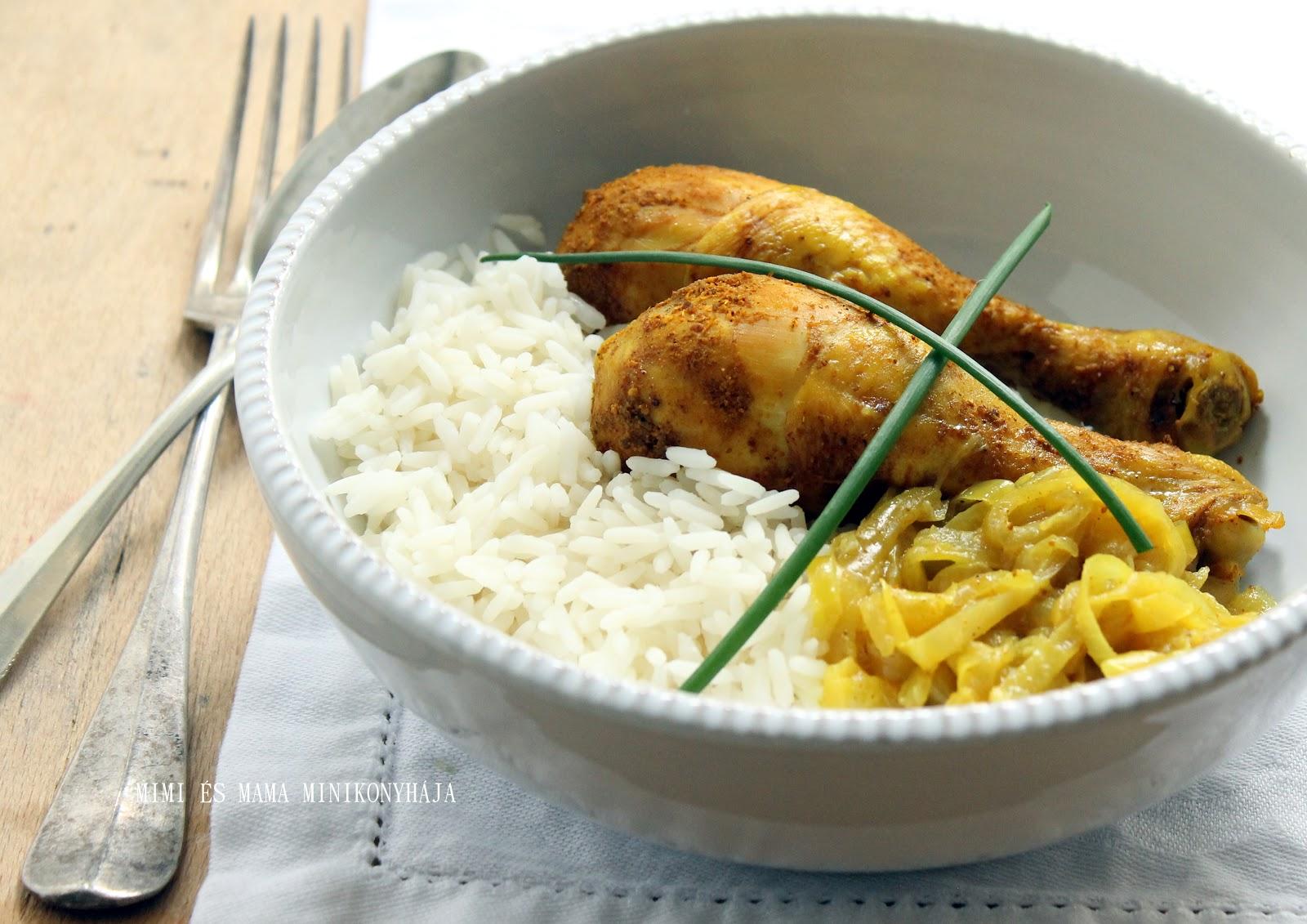 Agyagtálban sült curry-s csirkecombok