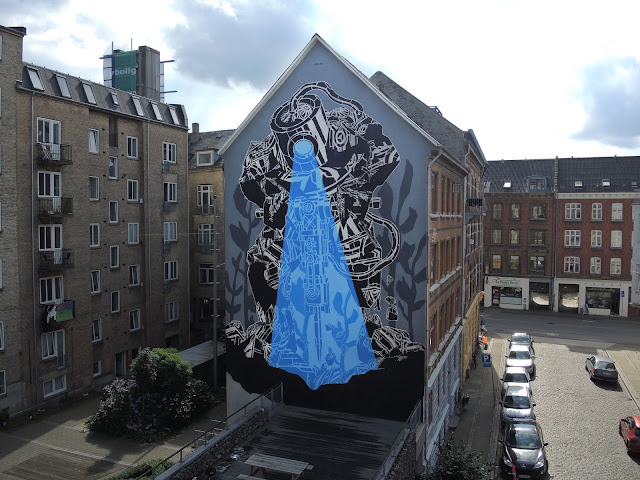 M-City is currently in Aalborg, Denmark where he spent the last few days working on a new mural for WeAart.