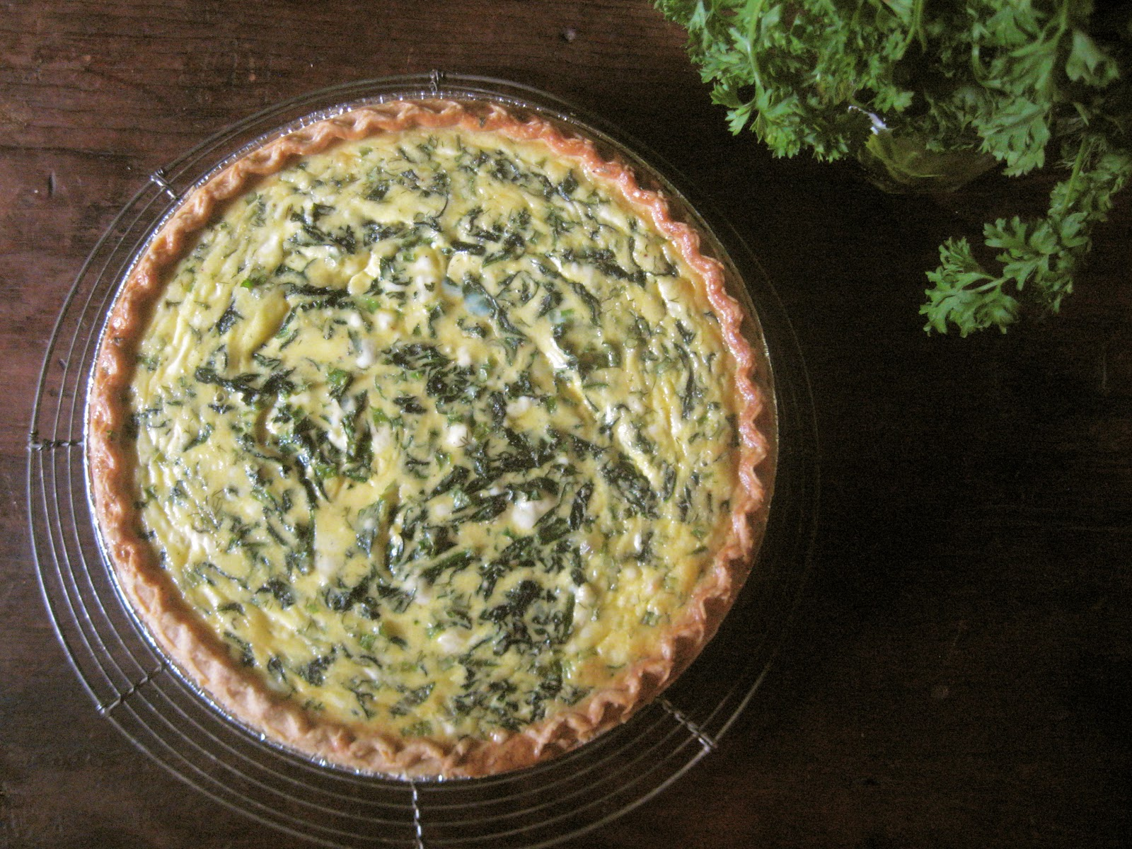 she's in the kitchen: goat cheese and spinach quiche with fresh dill