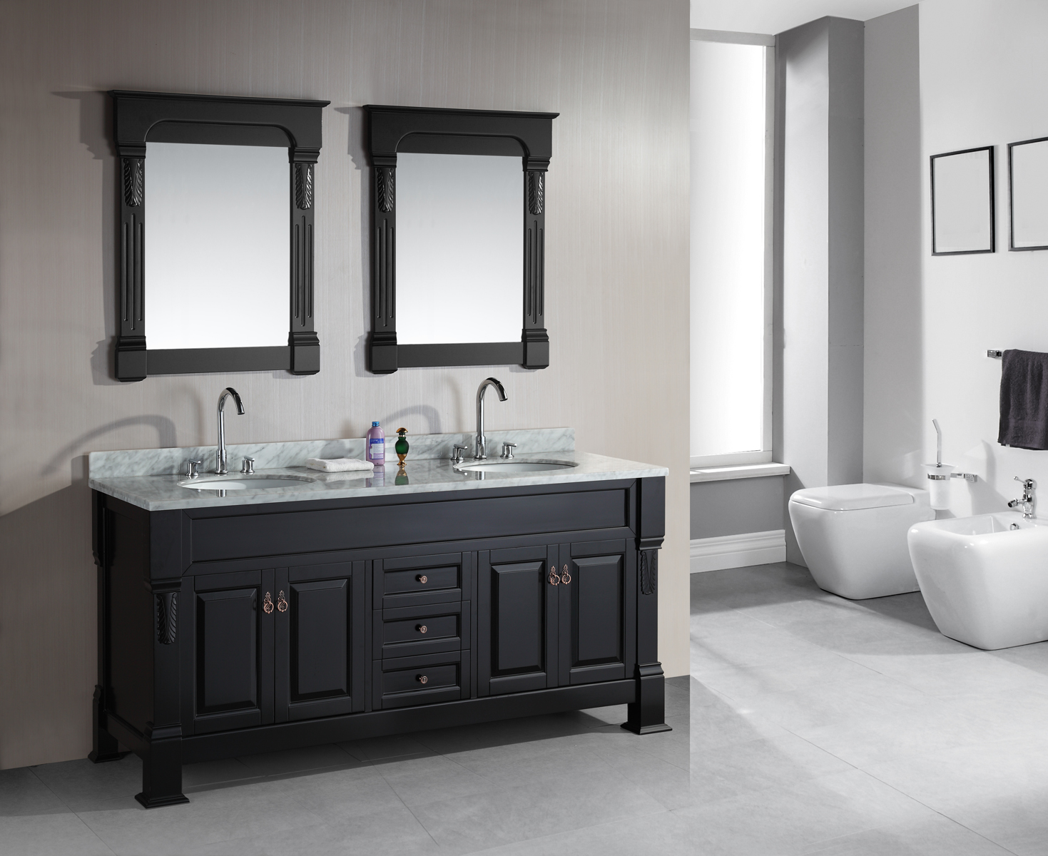 marcos 72 double sink vanity set carrara white marble