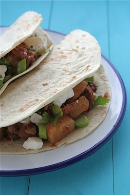 Slow-Cooker Smoky Pork Tacos with Avocado and Feta from Dinner du Jour found on SlowCookerFromScratch.com