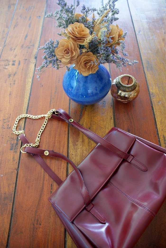 burgundy bag chain diy fashion