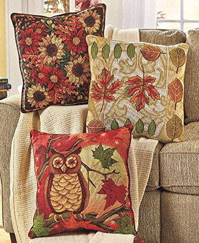 Decorative Pillows For Fall : Whimsical Owl Store: Owl Fall Pillows-Beautiful Set Of 3