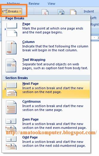 Klik ganda pada Footer / nomor halaman BAB I, pada ribbon Design di ...