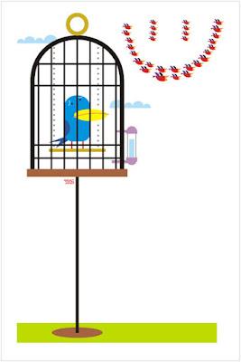 passarinho triste por estar na gaiola, enquanto varios voam livremente formando o desenho de um rosto alegre.
