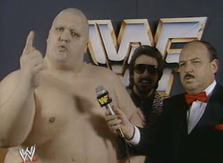 WWF (WWE) WRESTLEMANIA 1: King Kong Bundy (w/ manager Jimmy Hart) literally squashed Special Delivery Jones