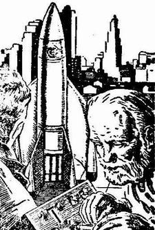 Illustration accompanying the reprint in Worlds Beyond, February 1951, of short story The Rocket of 1955 by C M Kornbluth