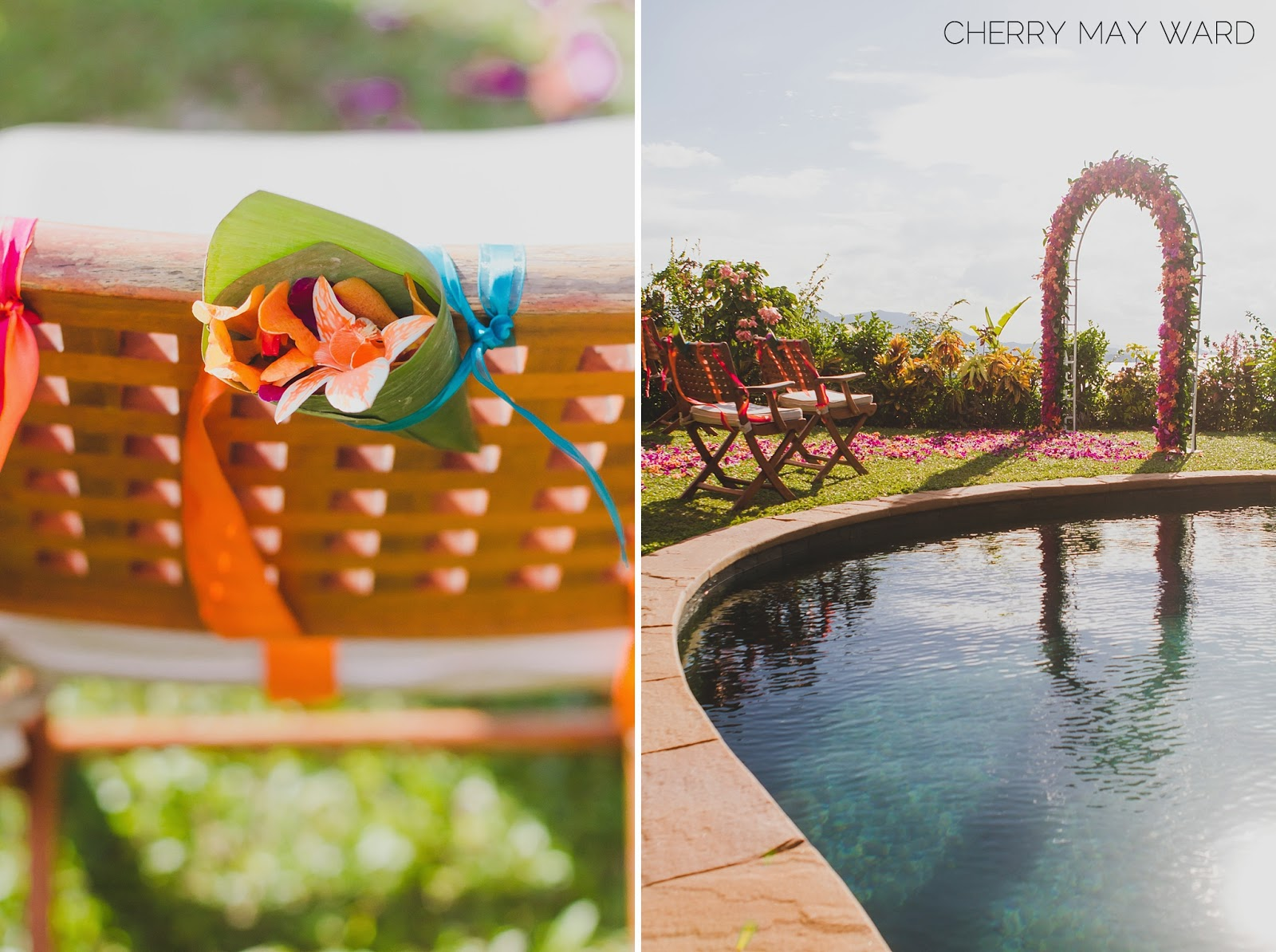 wedding ceremony next to pool, intimate villa wedding ceremony by the pool, Koh Samui wedding ceremony with a view, Cherry May Ward Photography, cone with flowers and petals to throw