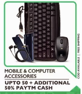Computer Accessories Extra upto 50% Cashback – PayTm
