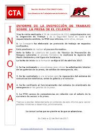 INFORME DE LA INSPECCIÓN DE TRABAJO SOBRE LA PRESA DE EL CELEMÍN