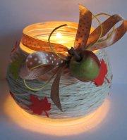 Autumn leaves jar candle holder craft