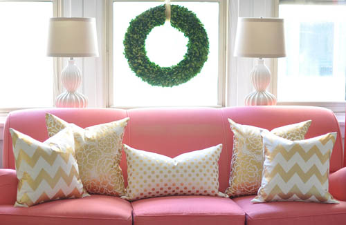 Max & Me: Easy Gold Accent Pillows - Pinterest Challenge