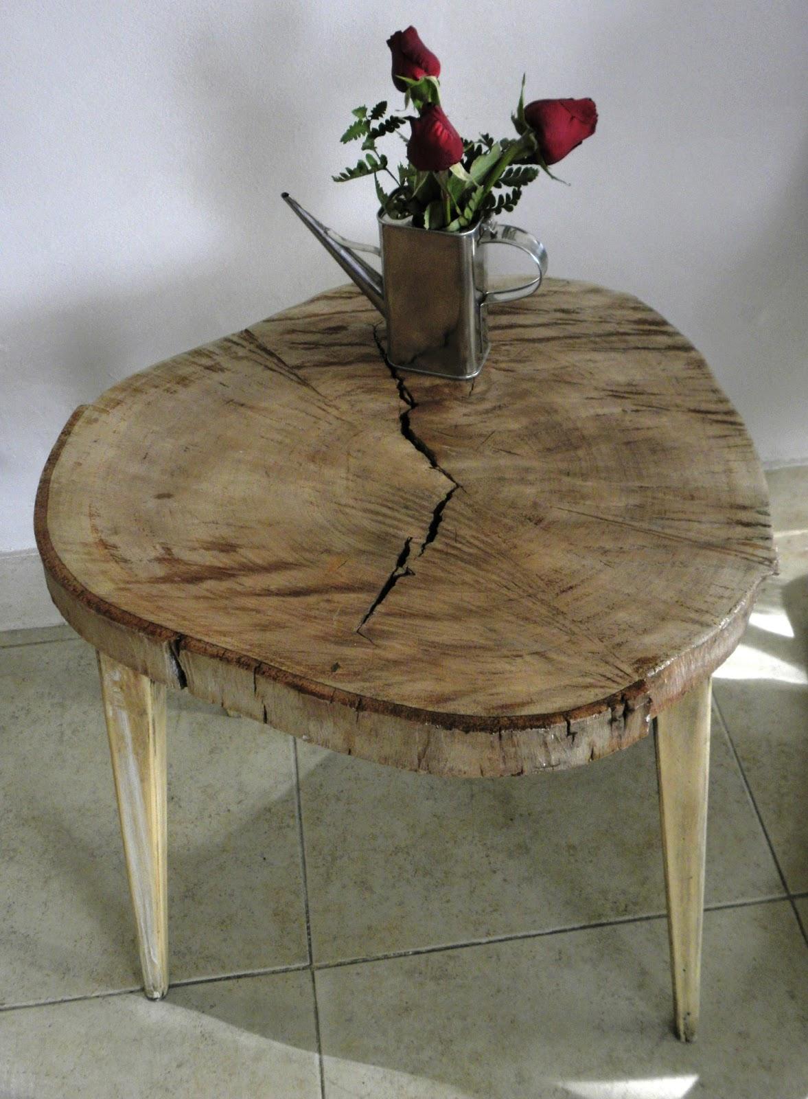 Lo que el viento no se llevo mesa ratona de tronco rustica for Mesa de tronco