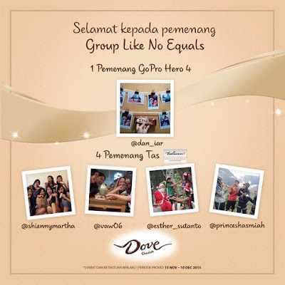 Pengumuman Pemenang Kontes Dove Chocolate 'Group Like No Equals'