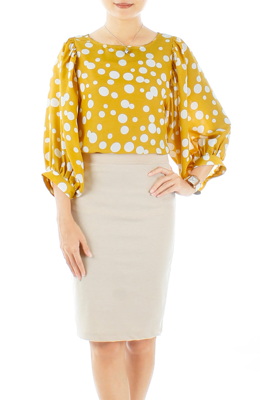 Stellar Bubble Print Blouse with Dolman Sleeves