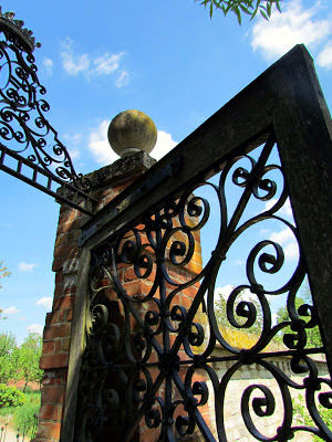 walled garden, gage, doorway, old, Wimpole estate, Uk, England, national tust, iron work, skill, swirls, visit