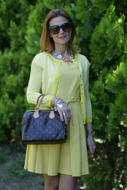 yellow bon ton dress, LV Speedy 25, BVLGARI ring, Fashion and Cookies