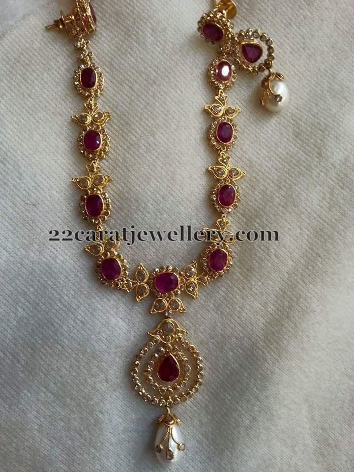 Uncut Diamond Sets With Earrings Jewellery Designs