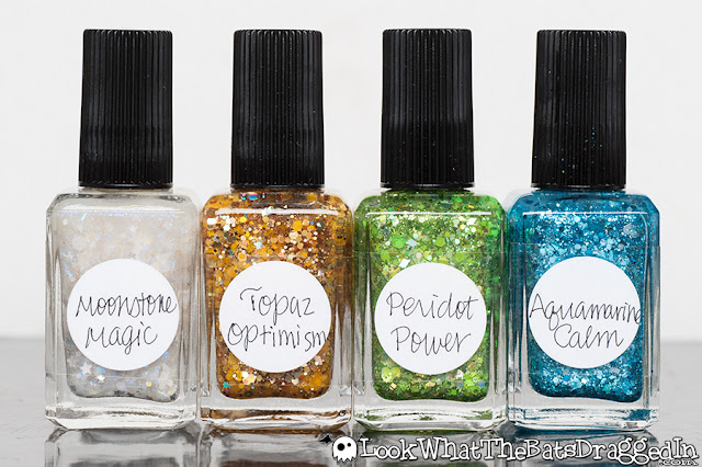 Lynnderella nail polish manicure peridot power aquamarine calm moonstone magic topaz optimism