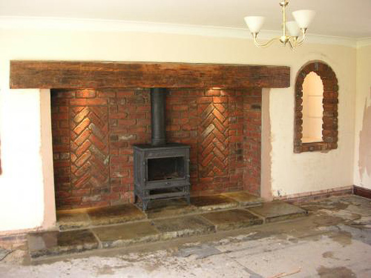 Brick Laminate Picture: Brick Inglenook Fireplace