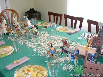 decoracion mesa cumpleaños vaqueros centro mesa