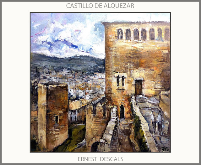 CASTILLO-ALQUEZAR-PINTURA-PUEBLOS-PAISAJES-HUESCA-ARAGON-ESPAÑA-CUADROS-PINTURAS-PINTOR-ERNEST DESCALS