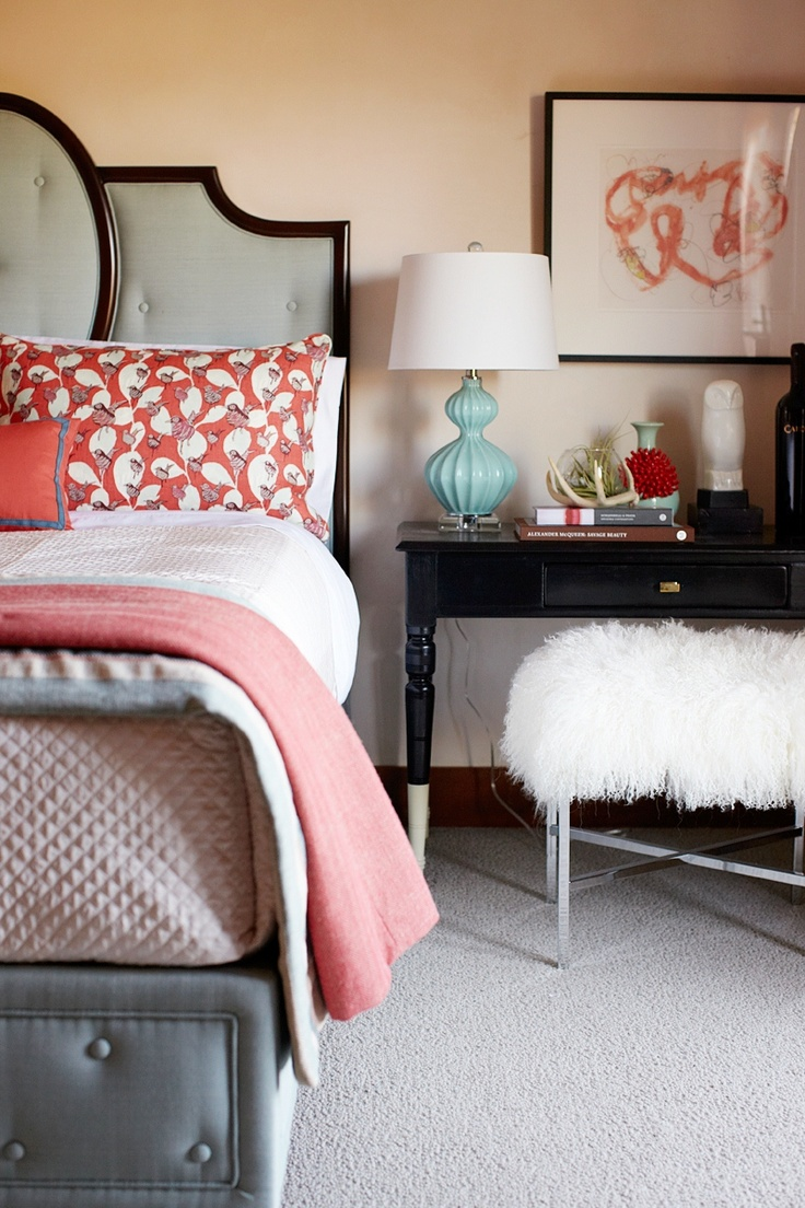 Using a desk as a bedside table is a great way to maximize space and create  a productive space away from the rest of the hustle and bustle of your home.